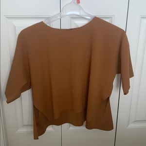 Topshop brown flow crop top with split sides